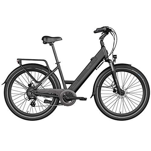 Legend Milano Bicicleta Eléctrica Urbana Smart eBike Ruedas de 26 Pulgadas, Frenos de Disco Hidráulicos, Batería 36V 10.4Ah Panasonic (374.4Wh), Autonomía hasta 80km, Negro Onyx
