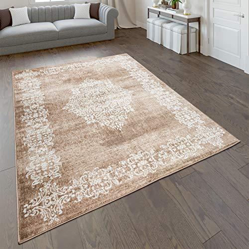 Paco Home Alfombra salón Pelo Corto Oriental Moderna en Beige marrón, tamaño:160x220 cm