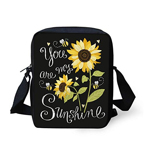 JEOCODY You Are My Sunshine Sunflower Pattern Cross Body Bag Cell Phone Purse with Adjustable Strap for Every Day Use
