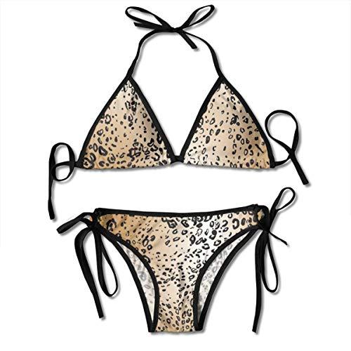 Mujeres Leopard Skin 2 Two Pieces Bikini para Mujer Set de D
