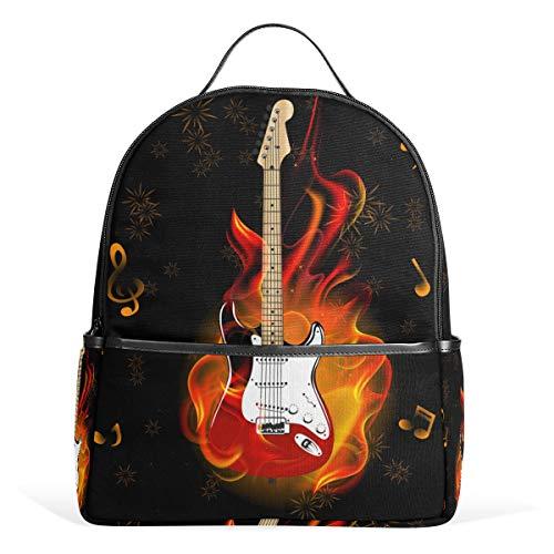 CPYang Schulrucksack, Musiknote, Gitarre, Feuerwerk, College, Schultertasche, lässiger Tagesrucksack, Reiserucksack für Mädchen Jungen Damen Herren