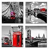 Amosi Art - 4 toiles murales imprimées Motif Londres Scène de rue Bus Londonien classique Rouge, Pont et Tower City Art moderne Tableaux encadrés Décoration, Red, 30x30cmx4pcs