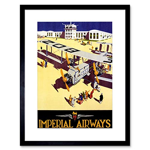 Wee Blue Coo Travel Imperial Airways Retro Vliegtuig Propellor UK Omlijst Muur Art Print