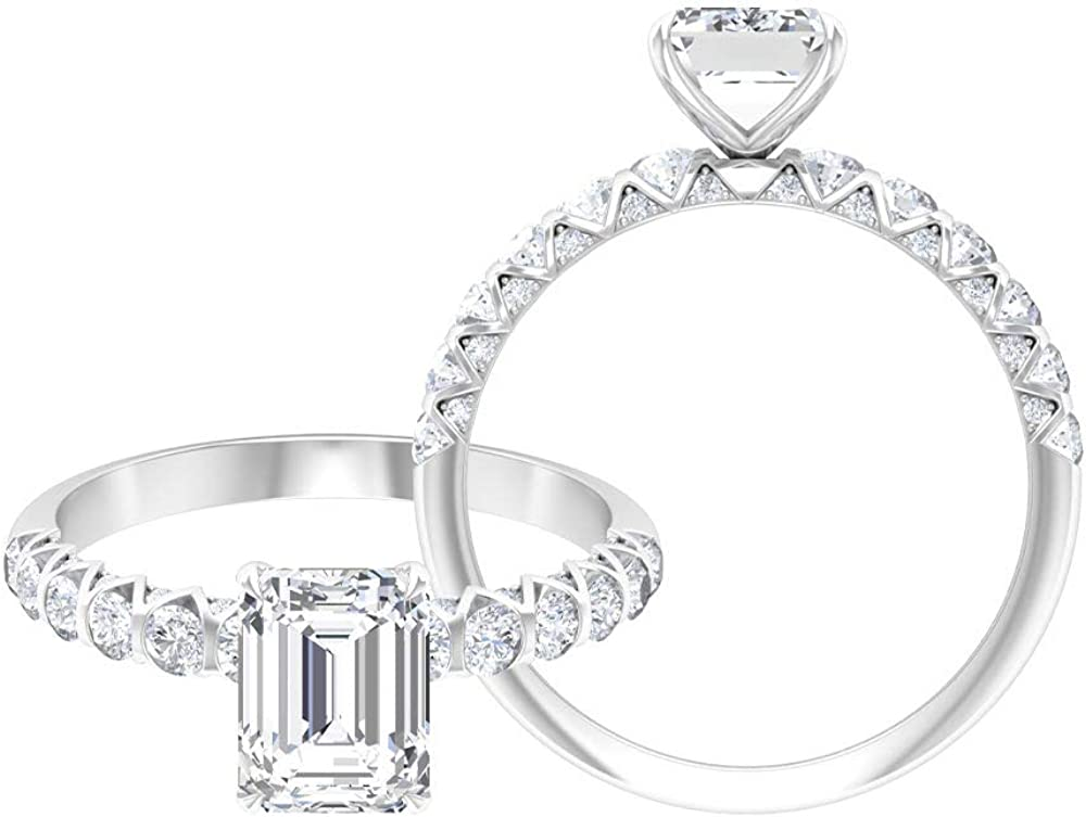 Rosec Jewels Octagon Engagement Ring, Solitaire Ring with 2.28 CT D-VSSI Moissanites, Side Stone Ring (AAA Quality),14K White Gold,Moissanite,Size:US 7.50