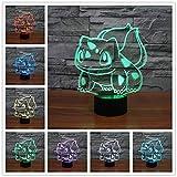Tianyifengg Luz de Noche 3D -7 Colores - Control Remoto - Luz de Noche Pokemon luz de energía móvil para lámpara de Mesa de Dormitorio luz de encimera de Cocina
