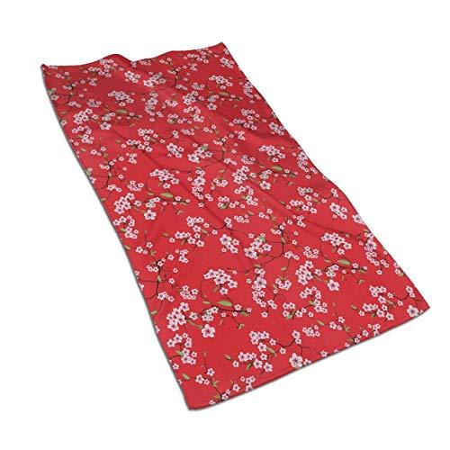 Tyueu Toalla de mano y toallita con diseño de flor de ciruelo rosa, toallas extra suaves, 27,5 x 44,5 cm