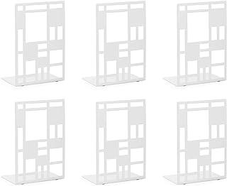 Scuola 2 Pezzi Biblioteca Ferma Libri da Mensola Reggilibri in Metallo Reggilibri da Mensola di Colore Bianca Reggilibri Fermalibri Porta Libri per Ufficio Fermalibri per Mensole