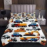 Jungen Maschinen Auto Tagesdecke Baufahrzeuge Drucken Bettüberwurf Abstract Bagger Steppdecke 220x240cm für Kinder Gelbblau Geräte LKW