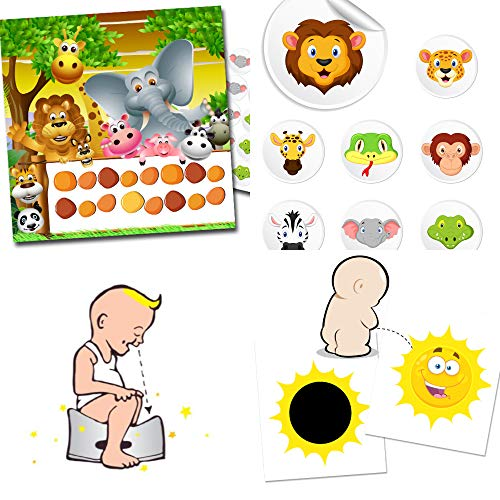Toilettentraining leicht gemacht mit unserem Set bestehend aus einem verfärbenden Toilettensticker Sonne + 2 bunten Belohnungbögen und 80 Stickern mit Thema Safari