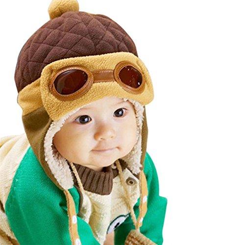 TMEOG Berretti e Cappellini Bambino, Invernale Cappa Calda Beanie Earflap Cappello per i più Piccoli Ragazzino Aviatore Pilota (caffè)