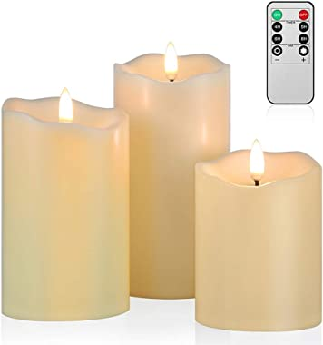 Upgraded Flickering Flameless Candles, Most Realistic LED Candles with Remote and Timer, Set of 3 Battery Operated Candles fo