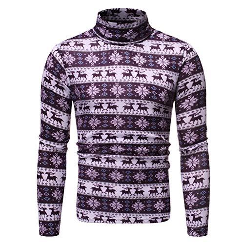 Metermall Fashion For Man Turtleneck T-shirt 3D Christmas Reindeer T-shirt Man Base Shirt