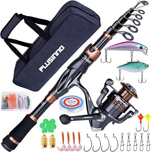 PLUSINNO Fishing Rod and Reel Combos Toray 24 Ton Carbon Matrix Telescopic Fishing Rod Pole product image