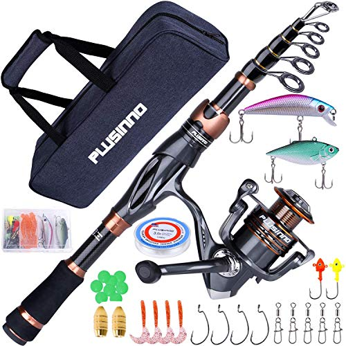 PLUSINNO Fishing Rod and Reel Combos - Toray 24-Ton Carbon Matrix Telescopic Fishing Rod Pole - 12 +1 Shielded Bearings Stainless Steel BB Spinning Reel