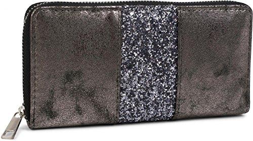styleBREAKER Geldbörse mit umlaufendem Pailletten Streifen, Reißverschluss, Portemonnaie, Damen 02040056, Farbe:Antik-Anthrazit
