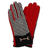Image of Pia Rossini Women's Houndstooth Glove with Gold Chain, Red