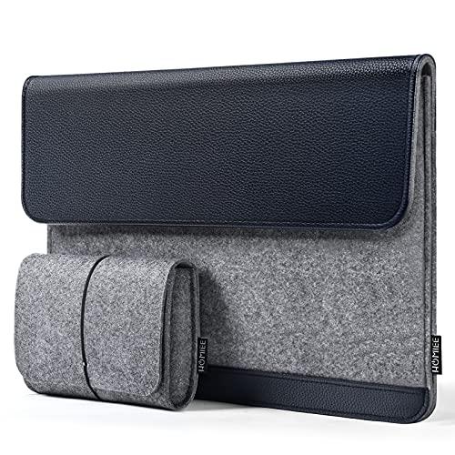 HOMIEE 13,3 Zoll Laptoptasche, Filz und PU Leder Laptop Hülle Tasche mit extra kleine Filztasche, Kompatibel mit 13 Zoll - 13.3 Zoll MacBook Pro/Retina/MacBook Air, iPad Pro 12.9 (Dunkelblau)