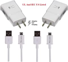 Galaxy S7 S7 Edge S6 S6 Edge LG G2 G3 G4 for Samsung Adaptive Fast Charger Micro USB 2.0 Cable Kit {Wall Charger + 5FT Cable} Fast Charging for up to 50% Faster Charging (White) Premium Version 2 pack