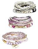 Finrezio 3 Sets Bohemian Beaded Bracelets for Women Multilayer Stretch Stackable Bracelet Set Multicolor Jewelry (Multicolor Set A)