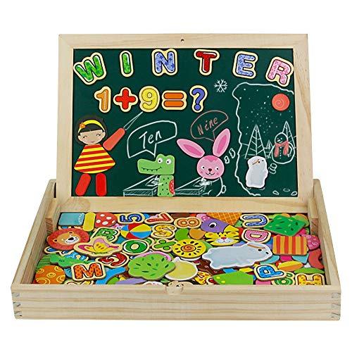 Fajiabao Puzzle Magnetico Legno Lavagna Magnetica per Bambini Giocattoli Legno Doppio Lato Puzzle Legno Costruzioni Legno Bambini Giochi Educativi 3 4 5 Anni, 180+ Pezzi