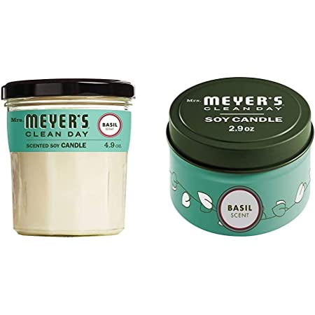 Mrs. Meyer's Clean Day Soy Tin and Glass Candle Bundle - Made with Essential Oils, 25 Hour Burn Time, Basil Scent, 2 Count