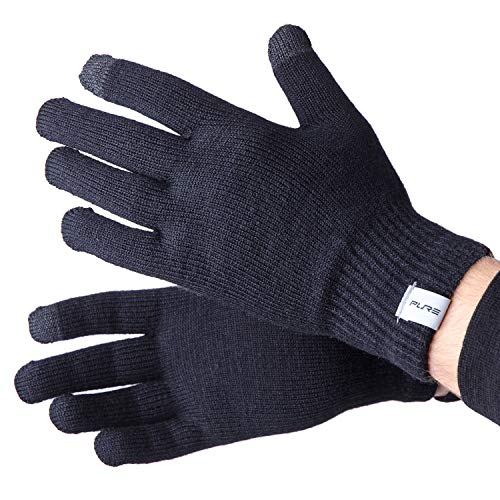 Wool Ski Glove Liner with Touch Screen Technology – Premium Merino Wool Winter Gloves for Skiing, Cold Weather (L, Black)