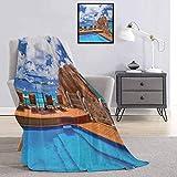 Toopeek Batik Manta grande cómoda con patrón vintage en estilo hojas rizadas y motivos tradicionales de cachemira, manta de microfibra para sofá o viaje, 70 x 90 pulgadas, multicolor