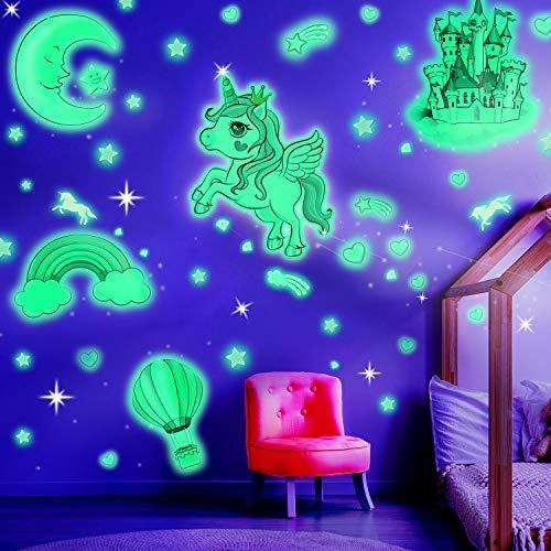 Pegatinas que Brillan en la Oscuridad Pegatinas Luminosa de Pared de Unicornio Calcomanías de Pared de Castillo Globo Luna Arco Iris y Estrellas para Dormitorio de Niños