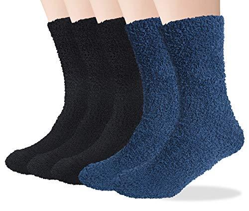 Chalier 5 Paare Dicke Kuschelsocken Weiche Komfortable Winter Herren Socken Warm Home Flauschige Bett Socken Geschenke für Männer Frauen