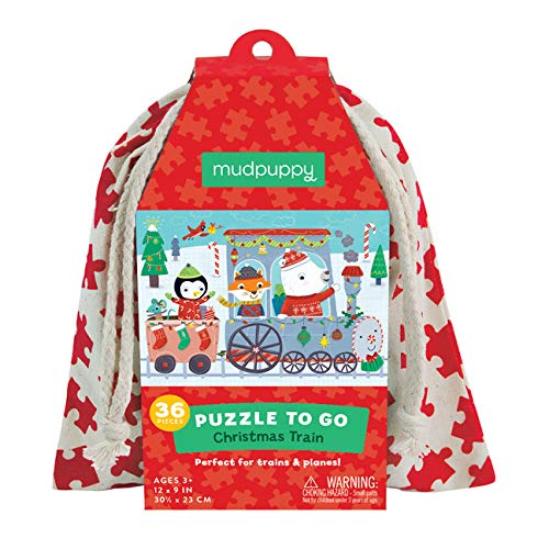 "Mudpuppy Christmas Train to Go Puzzle, 36 Pieces — 12"" x 9"", for Ages 3-6, Colorful Holiday Artwork, Made with Safe, Non-Toxic Materials"