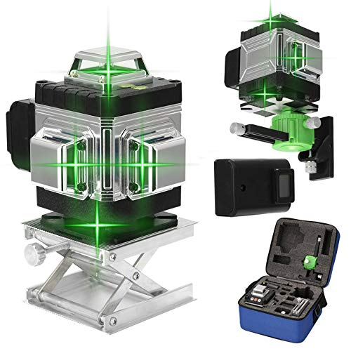 Kreuzlinienlaser 25M KKmoon grüner Lasepegel 4 x 360 16 Linien Laser Level 3 ° Selbstnivellierendes mit APP Fernbedienung IP54 Staub und Waseerschutz (2 Batterie)