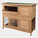 EUGAD Conejera de Exterior Madera con Bandejas Casa/Jaula para Conejos Cobayas Mascotas Jaula para Animales Pequeños 2 Niveles, 4 Puertas 120 x 100,5 x 50 cm, Marrón Claro 0005TL