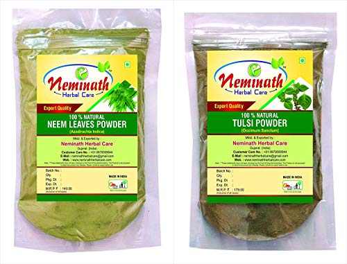 Neem Leaves (Azadirachta Indica), Tulsi Leaves (Ocimum Sanctum) -(Pack Of 2) Each 100 gm (3.52 OZ)