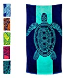 "Nova Blue Turtle Beach Towel – Tropical Blue Colors with A Unique Design, Extra Large, XL (34""x 63"") Made from 100% Cotton for Kids & Adults"
