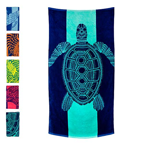 """Nova Blue Turtle Beach Towel – Tropical Blue Colors with A Unique Design, Extra Large, XL (34""""x 63"""") Made from 100% Cotton for Kids & Adults"""