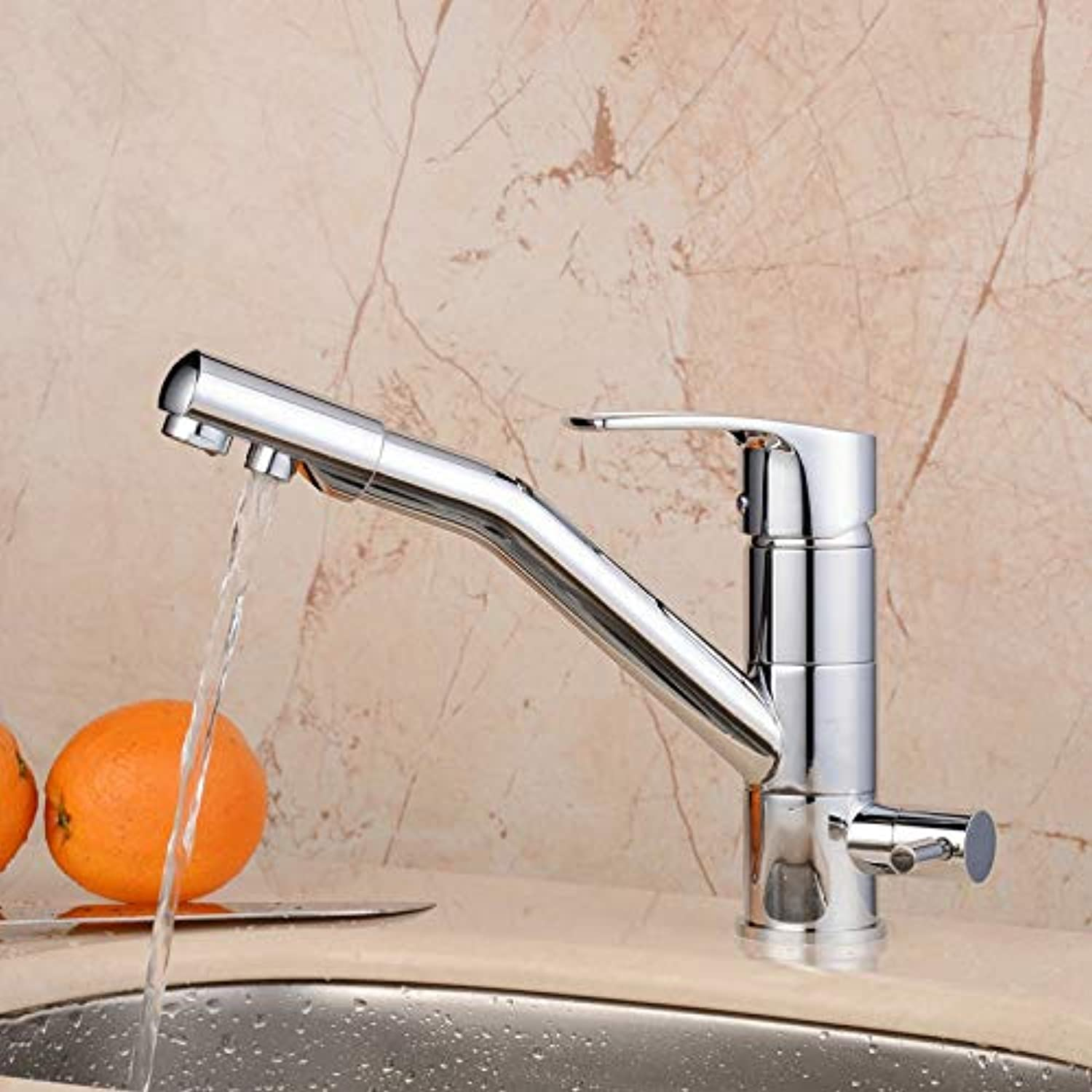 ROKTONG Commercial Chrome Solid Brass Single Hole Double Handles 3 Way Water Filter Square Swivel Spout Sink Mixer Tap