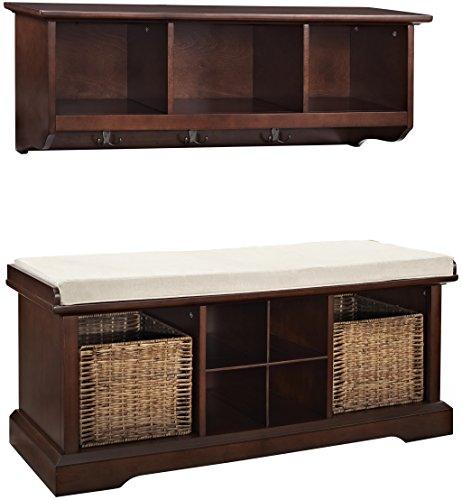 Crosley Furniture Brennan Entryway Storage Bench and Hanging Shelf Set, Vintage Mahogany