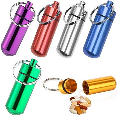 Biluer 12PCS Pillenbox Schlüsselanhänger Mini Pillenbox Waterproof Aluminum Pill Box,für Schlüsselanhänger AufbewahrungsBox klein wasserdichte Tablettendose Kapsel Pillen Dose Alu Aluminium,6 Farben