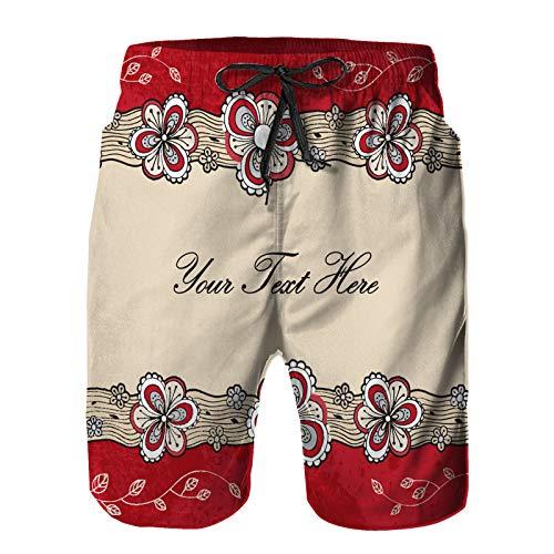 Blived Pantalones Cortos De Playa para Hombres,diseño de Plantilla de Fondo Floral Dibujado a Mano,Pantalones De Chándal De Secado Rápido, Bañador De Verano para Ejercicios Al Aire Libre M