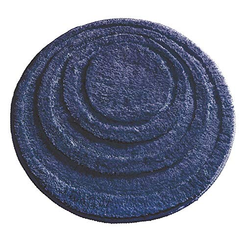 mDesign Soft Microfiber Polyester Non-Slip Round Spa Mat, Plush Water Absorbent Accent Rug for Bathroom Vanity, Bathtub/Shower - Concentric Circle Design, Machine Washable - 24' Diameter - Navy Blue