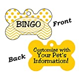 uDesignUSA Double Sided Polka Dot Chevron Pet Id Dog Tags Personalized w/Your Pet's Name & Number (Yellow)