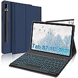 IVEOPPE Custodia Tastiera per Samsung Galaxy Tab S7 11' 2020,Cover con Tastiera per Tablet Samsung S7 (SM-T870/T875),Tastiera QWERTY Italiana Bluetooth Rimovibile retroilluminata(Blu Scuro)