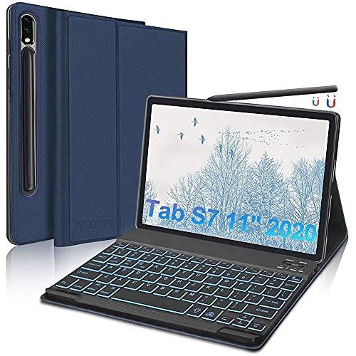 """IVEOPPE Custodia Tastiera per Samsung Galaxy Tab S7 11"""" 2020,Cover con Tastiera per Tablet Samsung S7 (SM-T870/T875),Tastiera QWERTY Italiana Bluetooth Rimovibile retroilluminata(Blu Scuro)"""