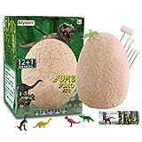 Alyoen Huevos de dinosaurio para niños de 3 a 5, kit de huevos gigantes con 13 dinosaurios sorpresa en un huevo gigante lleno, descubre la arqueología de dinosaurios para niños y niñas.