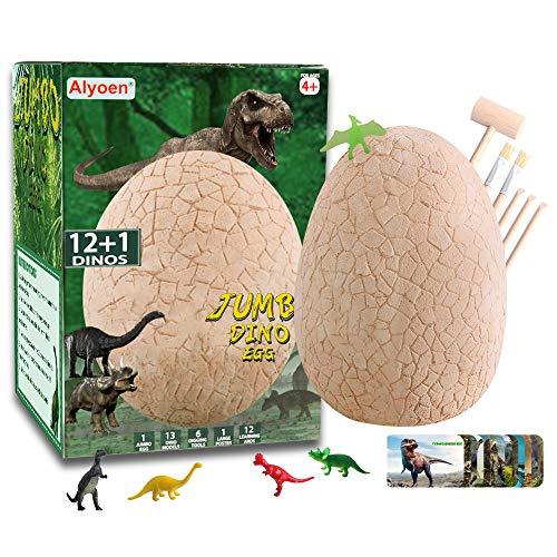 Alyoen Dinosaurier Eier für Kinder 3-5, Jumbo Dino Egg Dig Kit mit 13 Überraschungs-Dinos in einem riesigen gefüllten Ei, Entdecken Sie die Dinosaurier-Archäologie für Jungen und Mädchen