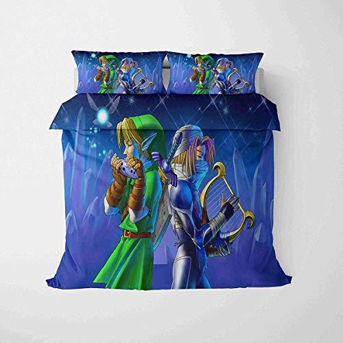 QWAS La leyenda de Zelda, diseño de fantasía, ropa de cama infantil, fácil de limpiar, adecuado para todas las estaciones, alta calidad (V02,220 x 240 cm + 80 x 80 cm x 2)
