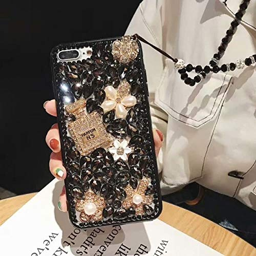 OPXZPM telefoonhoesje Glitter Crystal diamant Flower shell voor Samsung A50 A30/A9 A7 2018 Jewelled Parfum flessenhoes, For J5 2017 EU, 2