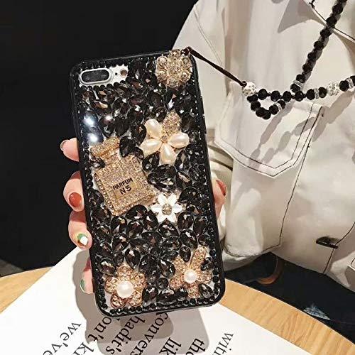 OPXZPM telefoonhoesje Glitter Crystal diamant Flower shell voor Samsung A50 A30/A9 A7 2018 Jewelled Parfum flessenhoes, For J5 2017 EU, 2