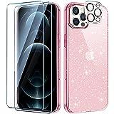 AROYI Funda Compatible con iPhone 12 Pro MAX Crystal Glitter Brillo Transparente Carcasa, 2 Piezas Protector de Pantalla y Vidrio Templado Protector Lente Cámara (Pink)