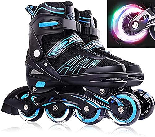 YANHUIGANG Inline Skates Für Kinder Und Erwachsene, 8 LED-Blinkräder, 27-44 Einstellbare Schuhgröße, ABEC-7 Lager, Doppelt Schuhkopf Kann die Zehen Besser Schützen (Blau, M 32-36)